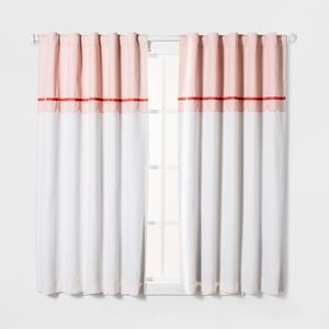 NEW 2 Pillowfort Pink Scallop Velvet Curtain Panel